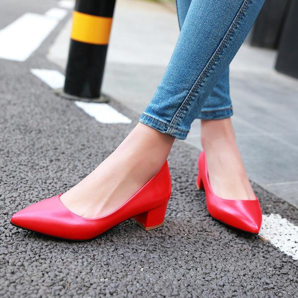 c48c049580d50b Femmes PU Talon bas Escarpins Bout fermé chaussures (085142785 ...