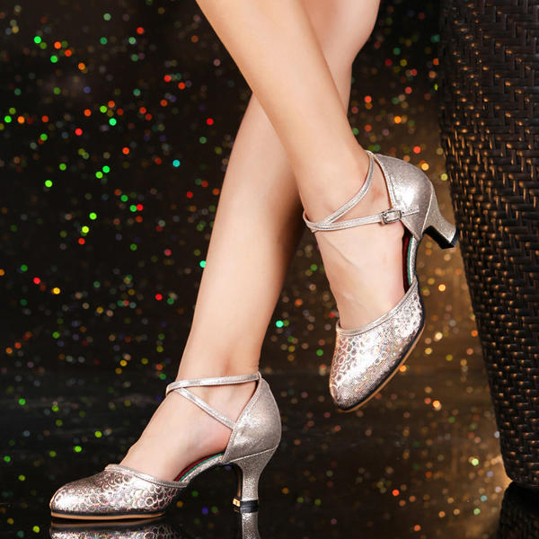 De mujer Sala de Baile Swing Tacones Cuero Estilo Moderno