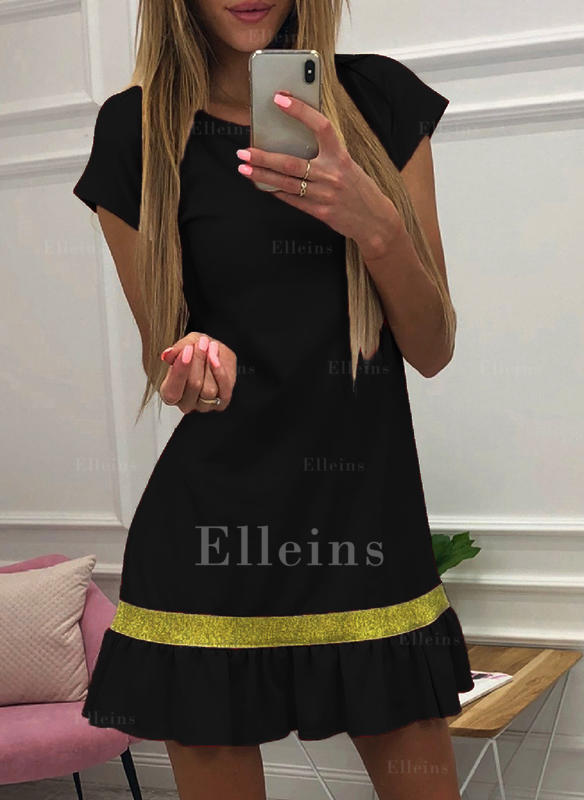 Striped Short Sleeves A-line Knee Length Little Black/Casual Dresses
