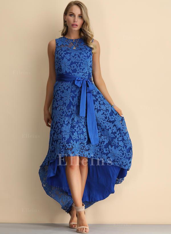 ac677cd215 Koronka Bez rękawów W kształcie litery A Asymetryczna Wintage Przyjęcie Elegancki  Sukienki