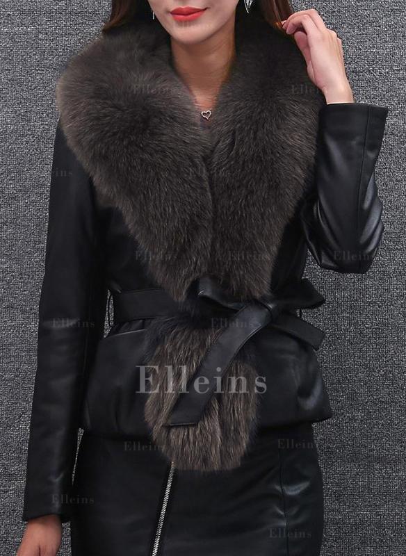 f12608d6f [US$ 54.99] Imitert Pels Langermer Ensfarget Faux pels jakke - Elleins