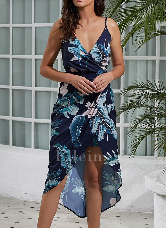 Nadrukowana/Kwiatowy Bez rękawów W kształcie litery A Asymetryczna Casual/Elegancki Sukienki