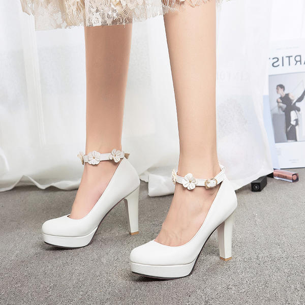 795915c761c5 Women's Leatherette Stiletto Heel Pumps Platform Closed Toe With Buckle  Flower shoes