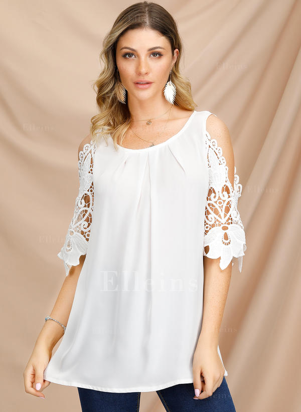Solid Round Neck 3/4 Sleeves Casual Sexy Blouses