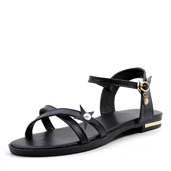 13c3a85c17 Women's PU Flat Heel Sandals Flats Peep Toe With Buckle shoes ...