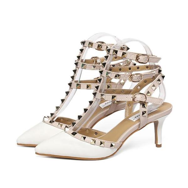 De mujer Cuero Tacón stilettos Sandalias Salón Cerrados Solo correa con Rivet Hebilla zapatos