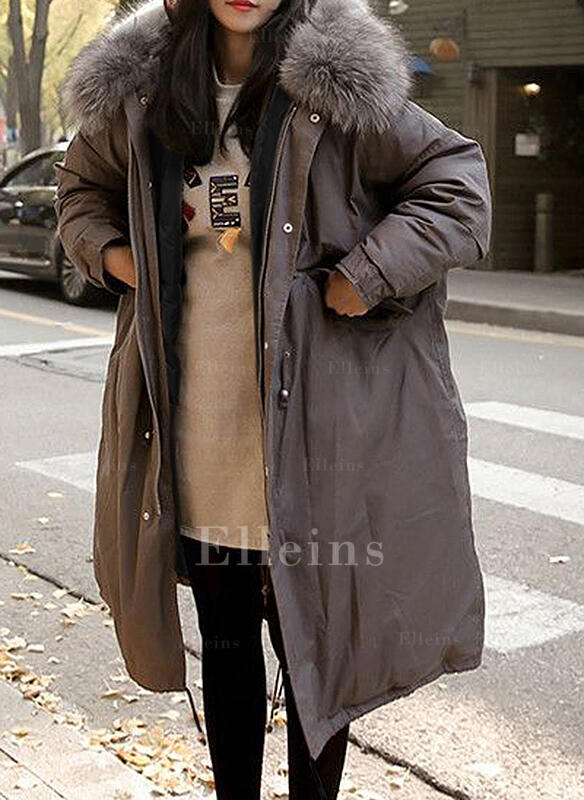 Poliester Sztuczne Futro Długie rękawy Jednolity kolor Mieszanki Płaszcze
