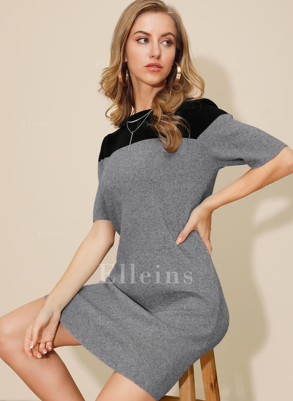 Color Block 1/2 Sleeves Sheath Above Knee Casual Dresses