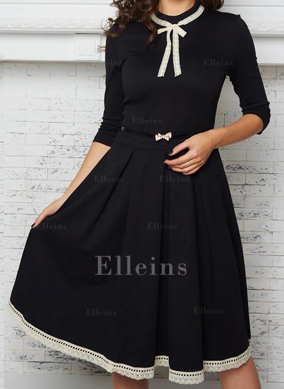 48aad0dae44 Dentelle Couleur Unie Manches 3 4 Trapèze Longueur Genou Vintage Petites  Robes Noires