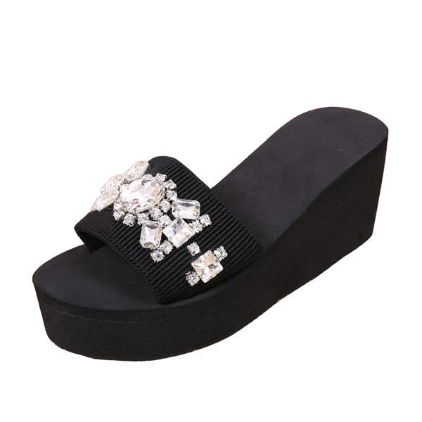 De mujer Tela Tipo de tacón Sandalias Pantuflas con Rhinestone zapatos