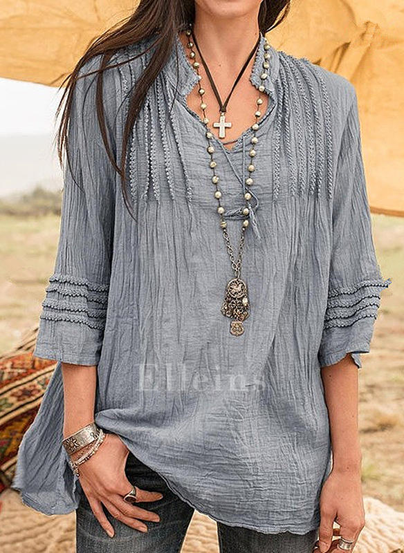Solid V Neck 3/4 Sleeves Casual Blouses
