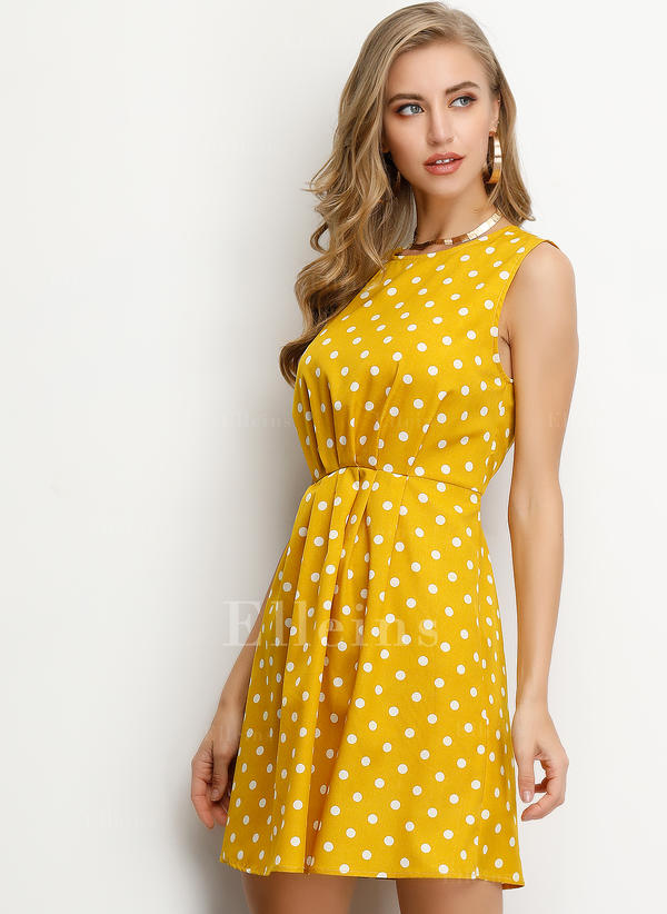 PolkaDot Sleeveless A-line Above Knee Casual Dresses