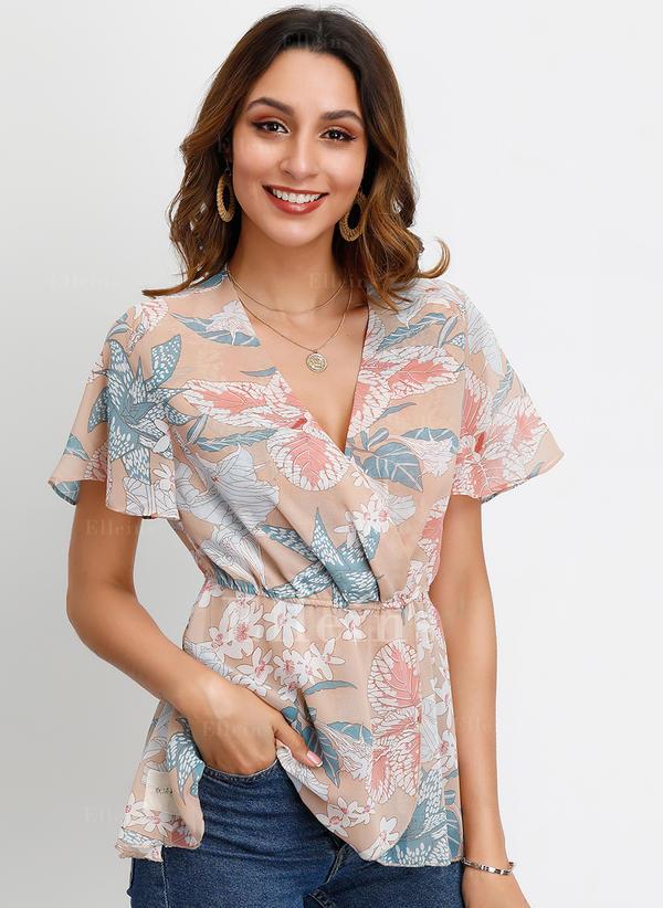 Print V Neck Flare Sleeve Short Sleeves Casual Elegant Blouses