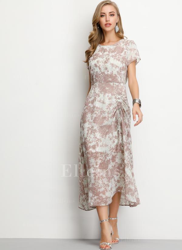 Print Short Sleeves A-line Midi Casual/Elegant Dresses