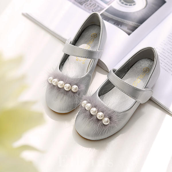 9df17ce22f8 Jentas Microfiber Lær flat Heel Round Toe Lukket Tå Flate sko Flower Girl  Shoes med Syning