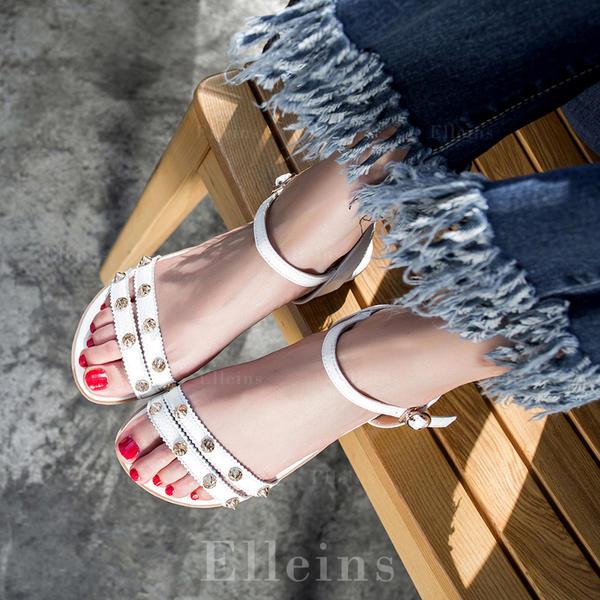 Kvinder Ægte Læder Flad Hæl sandaler Fladsko Kigge Tå Slingbacks med Nitte Spænde sko