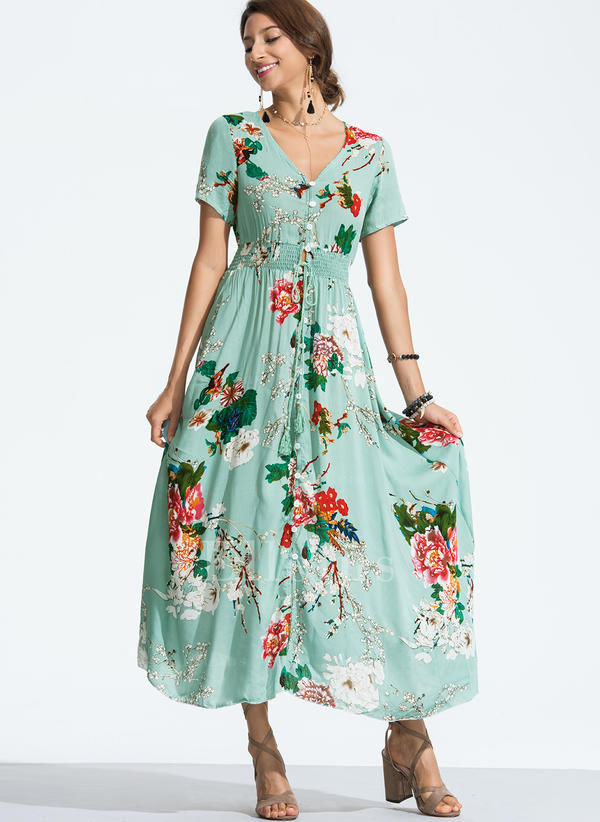 """Květiny Výstřih do """"V"""" Maxi Šaty do tvaru A (199238907) - Šaty ... 9b95e61963"""