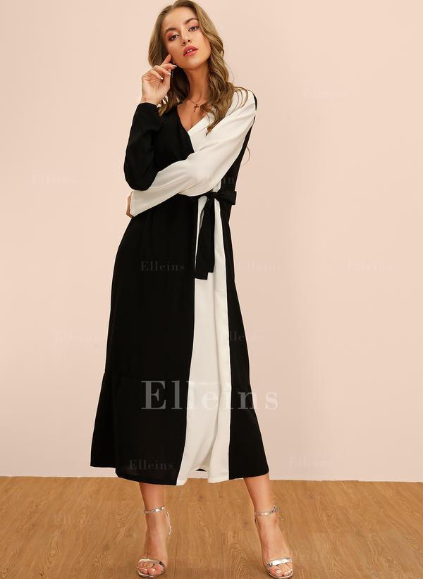 Color-block Long Sleeves Shift Midi Casual Dresses