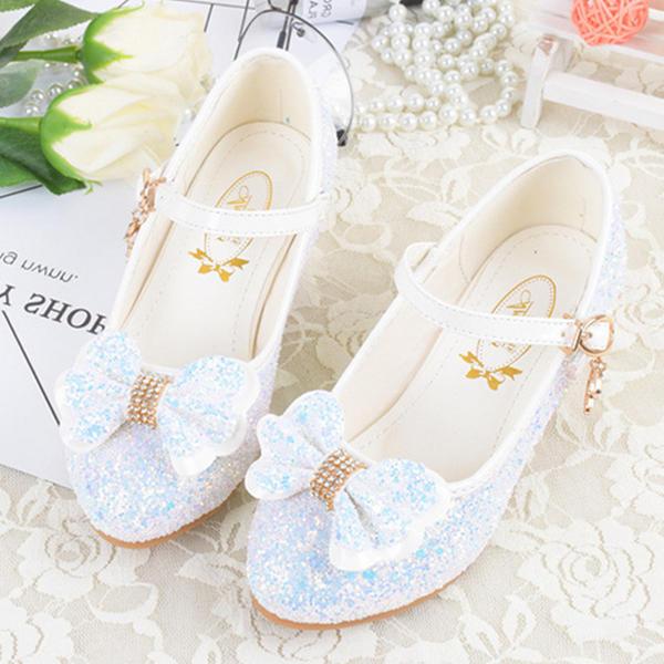188c658f0da Χαμηλή τακούνια Κλειστά παπούτσια Κορίτσι λουλουδιών Με Bowknot Πόρπη  Αφρώδης λάμψη