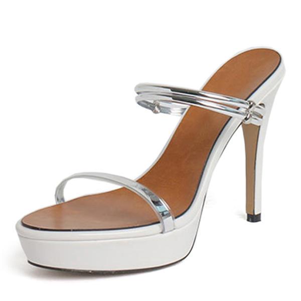 7f2a2db43d7e Dámské Lakovaná kůže PU Jehlový podpatek Sandály Lodičky Platforma obuv