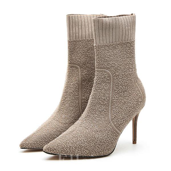 b0df4f38 De mujer Tejido Tacón stilettos Salón Cerrados Botas longitud media zapatos
