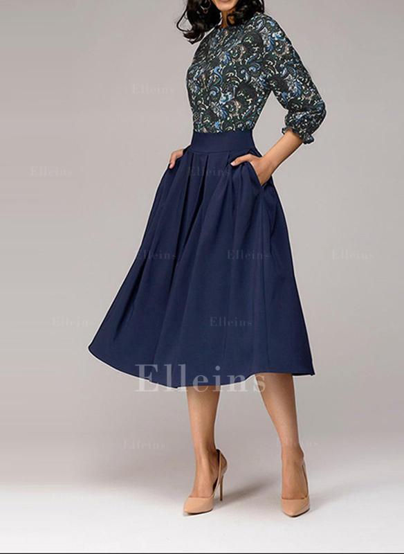 Print 3/4 Sleeves A-line Knee Length Vintage/Casual/Elegant Dresses