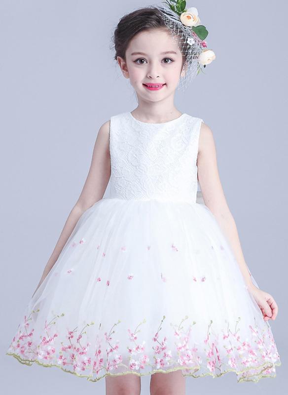f9c1eba6fe Dziewczyny Okrągły Dekolt Kwiatowy Kokarda Party Sukienka ...
