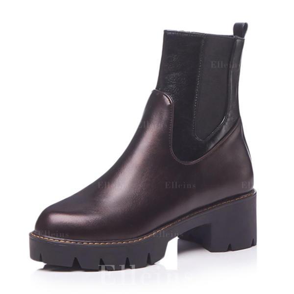 d425d9d98a7 Kvinder Kunstlæder Stor Hæl Platform Støvler med Delt Bindeled sko ...