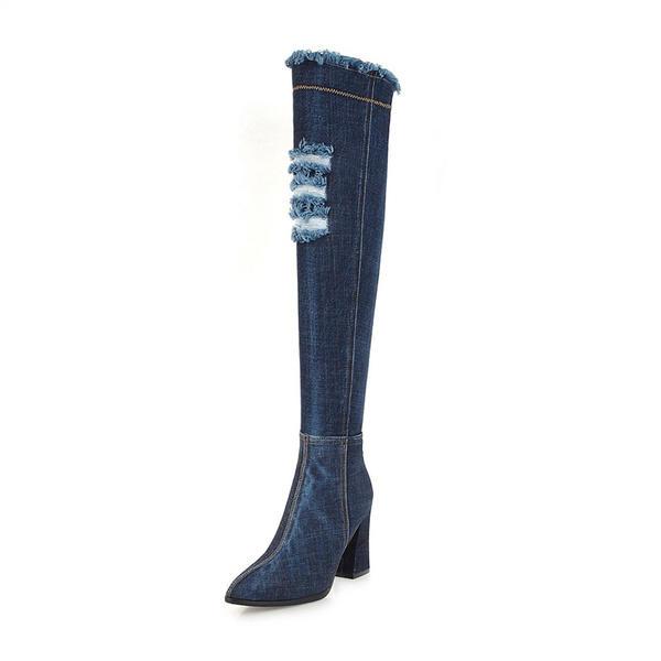 0c7b445a De mujer Juan Tacón ancho Botas Botas sobre la rodilla con Cremallera  zapatos