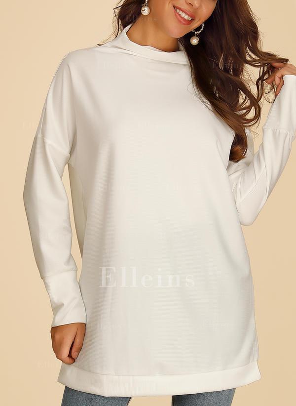 Jednobarevný Výstřih ke krku Dlouhé rukávy Neformální Bluze