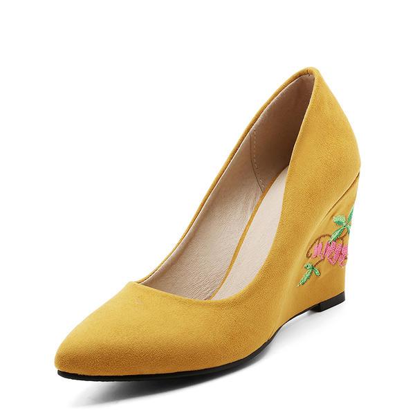2704e555 De mujer Ante Tipo de tacón Salón Cerrados Cuñas con Tacones con joya  zapatos