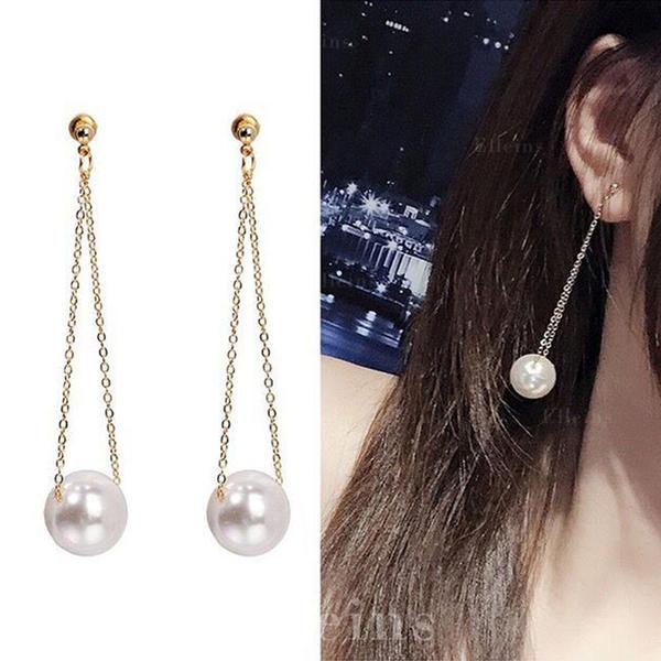 Stilfuld Enkle Legering Imiteret Pearl Kvinder øreringe
