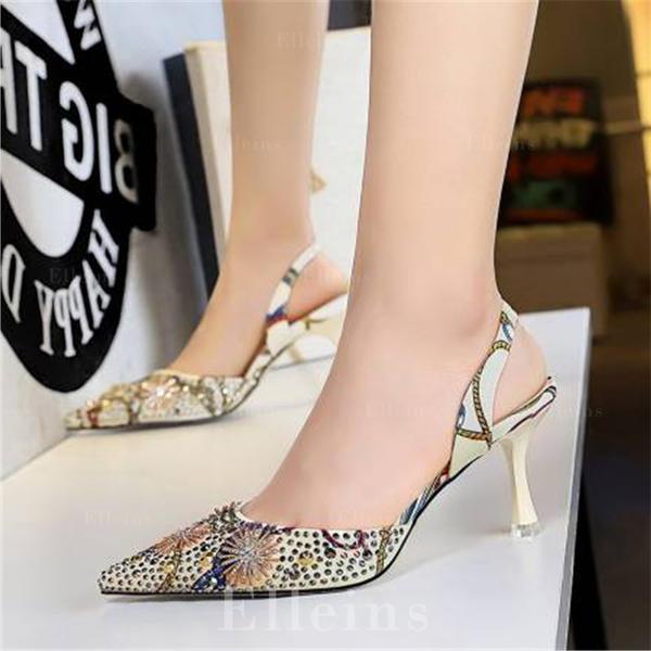 Women's Silk Like Satin Stiletto Heel Sandals Pumps Closed Toe With Rhinestone shoes