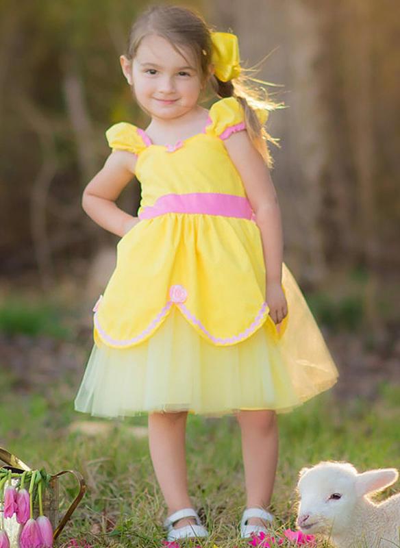 3266d03746a Κορίτσια Τετράγωνο κολάρο Στερεός Χαριτωμένος Φόρεμα (1009237862 ...