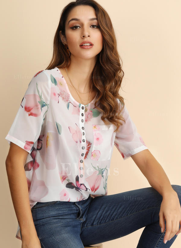 Print V Neck Short Sleeves Button Up Casual Elegant Blouses