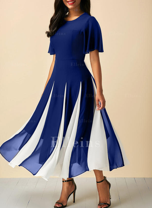 2c51530633a9 Χρώμα μπλοκ Στρογγυλός λαιμός Midi A-line φόρεμα (199227483 ...