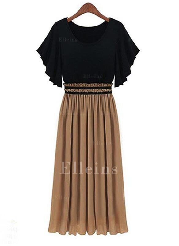 Color-block Short Sleeves A-line Midi Casual Dresses