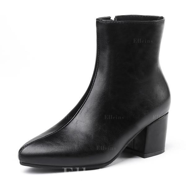 97574bcc De mujer Cuero Tacón ancho Cerrados Botas Botas al tobillo con Cremallera  zapatos