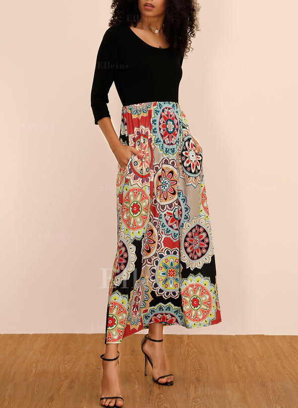 Print/Floral 3/4 Sleeves A-line Maxi Casual/Boho/Vacation Dresses