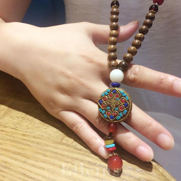 0c3ca69d3 Unikátní Dřevěné korálky Dámské Módní náhrdelník (Prodává se jako jeden kus)