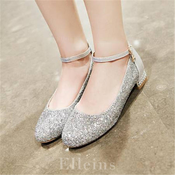 Women's Sparkling Glitter Chunky Heel Pumps Mary Jane With Split Joint shoes