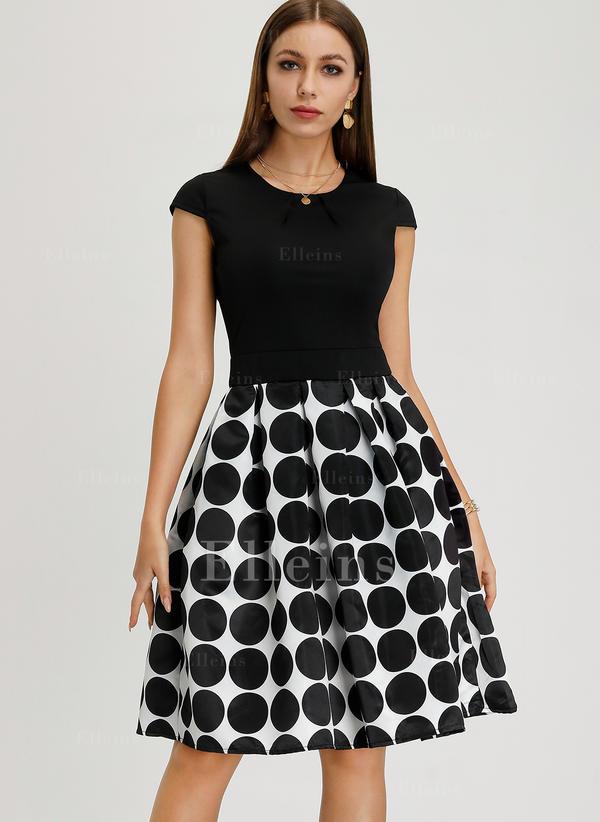 PolkaDot A-line Knee Length Vintage/Elegant Dresses