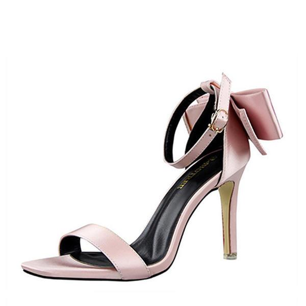 De mujer satén sedoso Tacón stilettos Salón Encaje con Bowknot zapatos