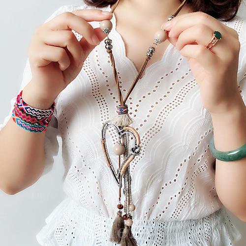 e7053d2d fasjonable Tibetansk sølv Crystal Skinn Tau med Dusker Kvinner Fashion Kjede