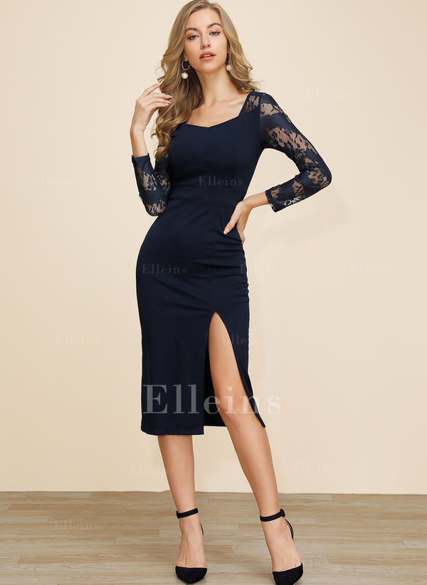 Lace/Solid Long Sleeves Sheath Midi Party/Elegant Dresses