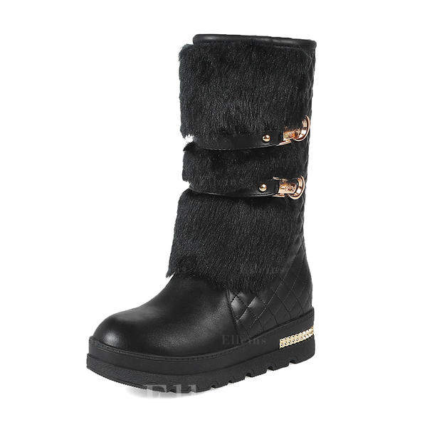 5835b3c1 Kvinner Lær Kile Hæl Lukket Tå Støvler Mid Leggen Støvler med Rivet Spenne  sko