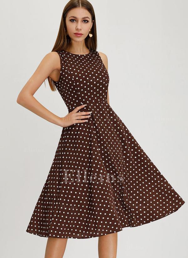 a0d4e4327112 Puntíky Bezrukávů Áčkové Délka ke kolenům Vintage Neformální Elegantní Šaty