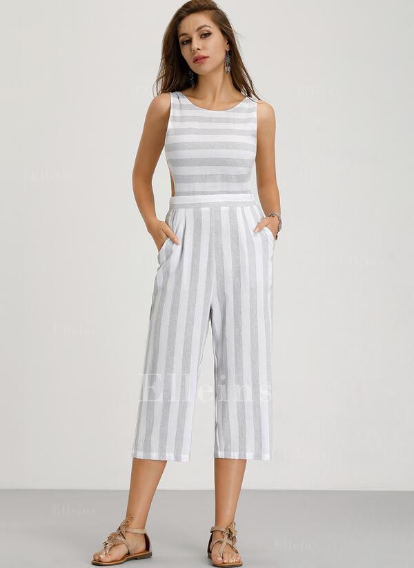 Striped Sleeveless Midi Sexy/Casual Dresses