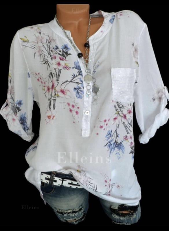 Floral V Neck 3/4 Sleeves Button Up Casual Elegant Blouses