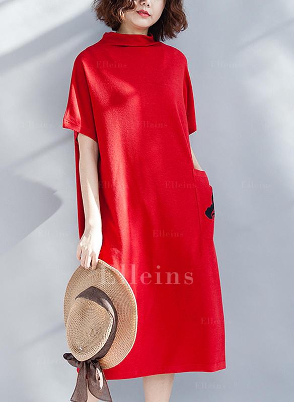 336b27a46d Haftowana Krótkie rękawy Koktajlowa Midi Casual Sukienki (199257956 ...